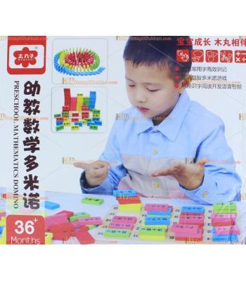 Toptan eğitici oyuncak ahşap domino matematik işlem çantalı
