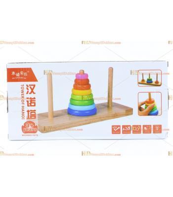 Toptan ahşap eğitici oyuncak hanoi kulesi