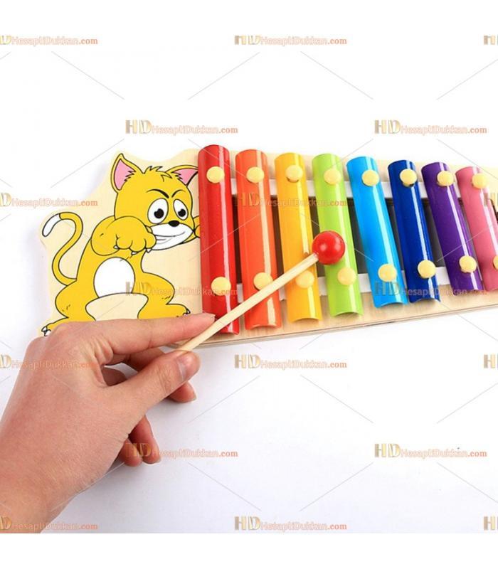 Toptan karakterli selefon ksilofon ahşap oyuncak