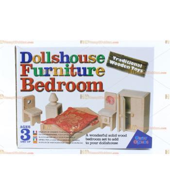 Toptan ahşap mini küçük yatak odası takımı bebek evi mobilya