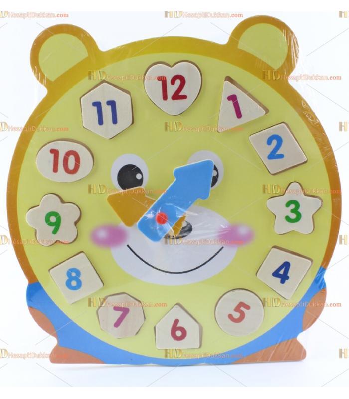 Ahşap eğitici oyuncak saat puzzle TOY6872