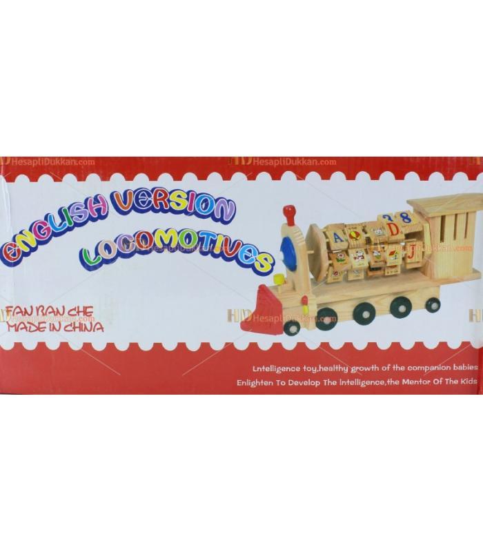 Ahşap eğitici rakamlı oyuncak tren bilgi tekerleği