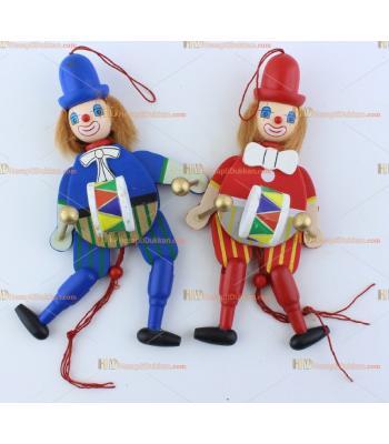 Toptan ipli palyaço ahşap oyuncak hediyelik