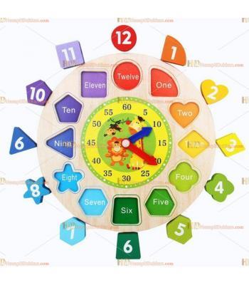 Toptan ahşap eğitici oyuncak saat ip boncuk puzzle sayılar