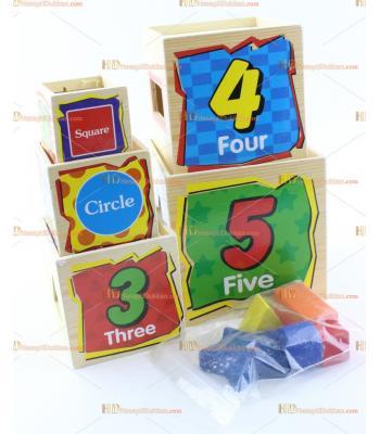 Ahşap eğitici oyuncak kuleler tak çıkar şekil  matematik geometri