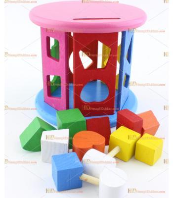 Toptan ahşap eğitici oyuncak tekerlek yapboz puzzle