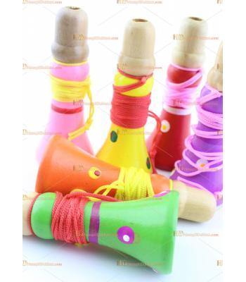 Toptan ahşap renkli düdük mini promosyon oyuncak