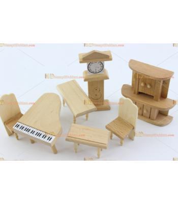 Toptan bebek evi ahşap minyatür mobilya salon takımı