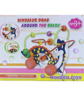 Toptan telli sürgülü boncuklu ahşap eğitici oyuncak dinozor