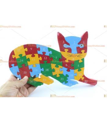 Toptan parçalı ahşap yapboz puzzle kedi