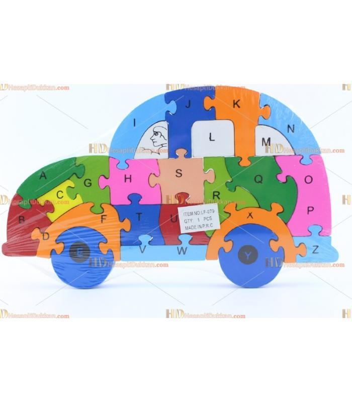 Toptan parçalı ahşap yapboz puzzle araba