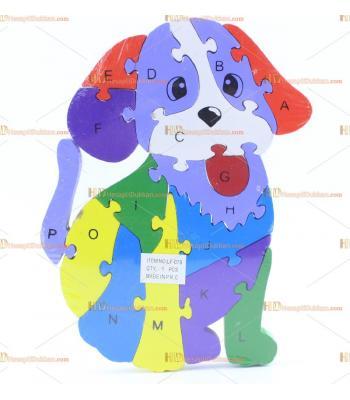 Toptan parçalı ahşap yapboz puzzle köpek