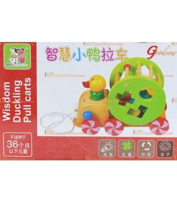 Toptan ucuz eğitici oyuncak ördek çek çek ahşap tekerlek şekiller puzzle