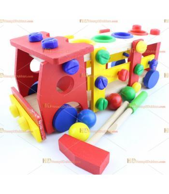 Toptan sök tak kamyon top yuvarlama çekiç eğitici ahşap oyuncak