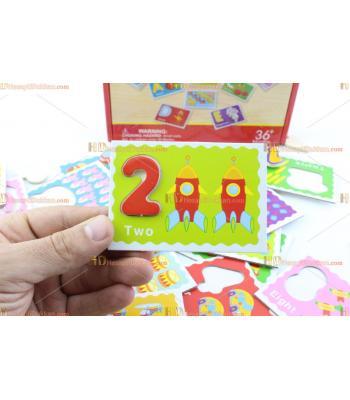 Toptan ahşap eğitici oyuncak rakamlı kartlar şekiller