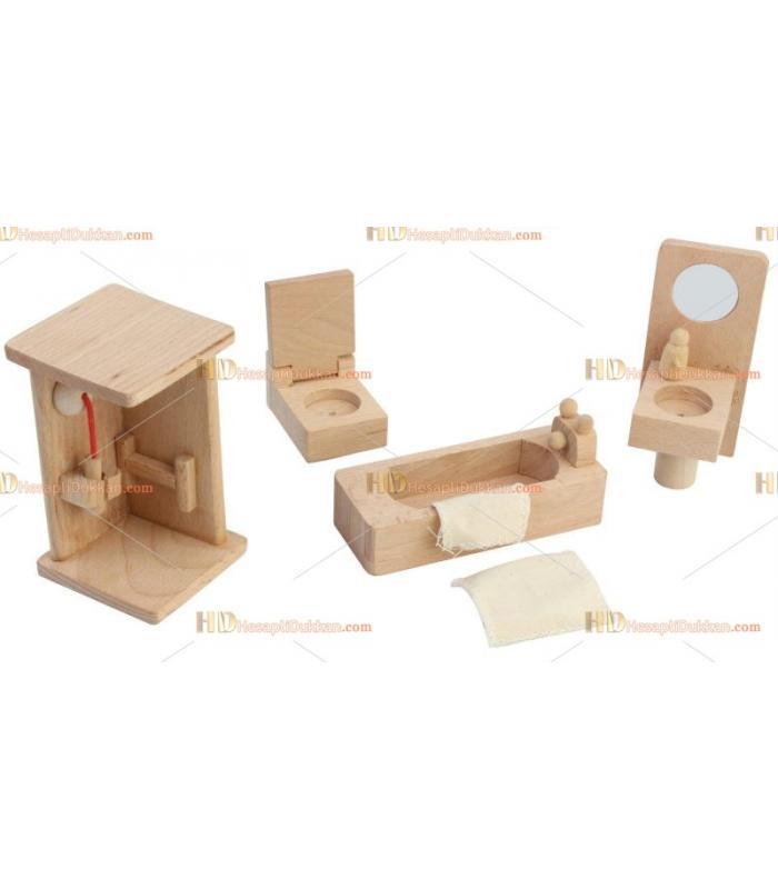 Toptan ahşap oyuncak bebek evi mobilya banyo takımı