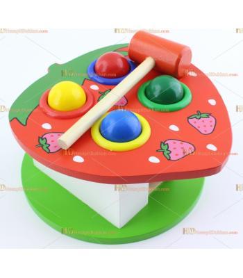 Toptan eğitici oyuncak çekiç tokmak ahşap top yuvarlama çilek
