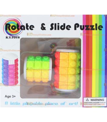 Toptan dönen sürgülü puzzle renkli kuleler