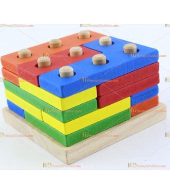 Toptan ahşap tetris blok renkli parçalar