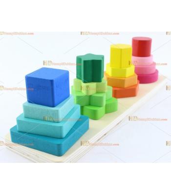 Toptan ahşap eğitici oyuncak geometrik şekiller dört kolon