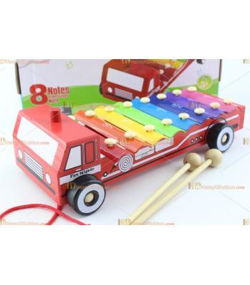 Toptan itfaiye arabası selefon ksilofon ahşap oyuncak