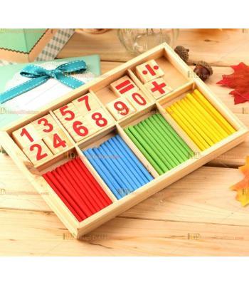 Toptan ahşap eğitici oyuncak matematik rakamlar işlemler çubuklar