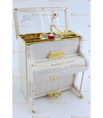 Toptan dans eden balerin müzik mücevher kutusu beyaz piyano