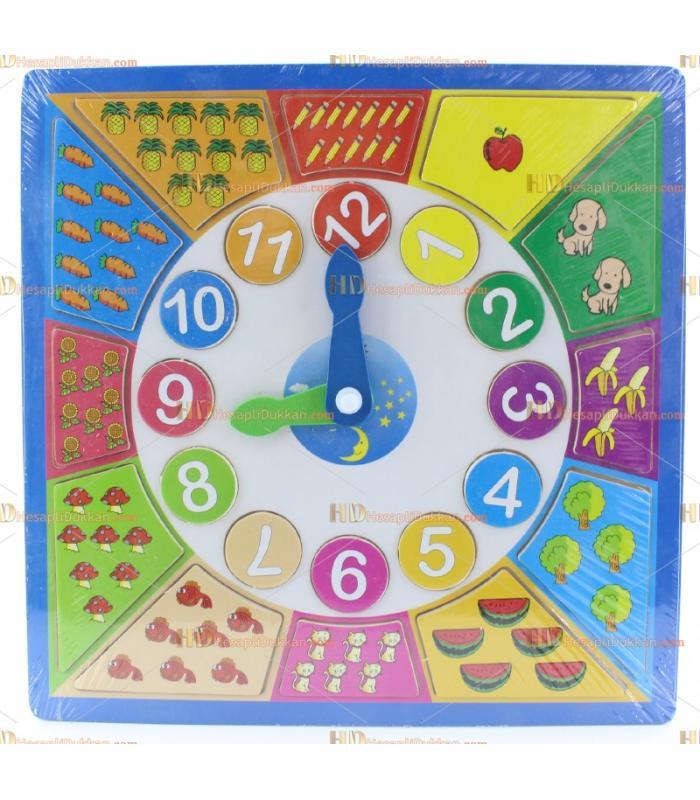 Ahşap eğitici saat yapboz oyuncak