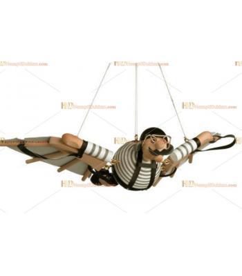 Toptan yaylı zıplayan asılan ahşap uçan oyuncak adam