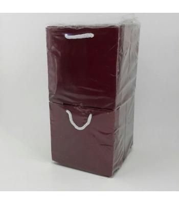 Toptan 11*11 Karton Çanta 50'li Düz Bordo