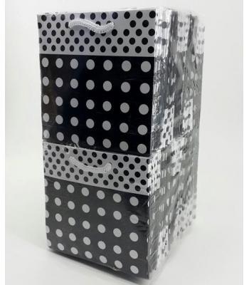 Toptan 11*11 Karton Çanta 50'li Puantiyelli Siyah