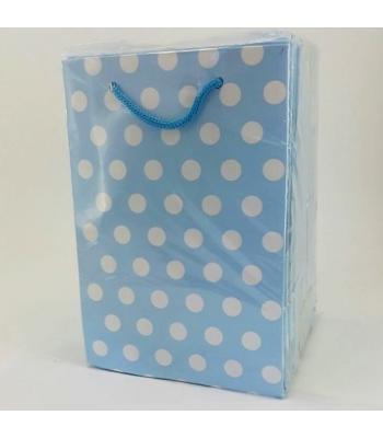 Toptan 12*17 Karton Çanta 25'li Mavi Puantiyeli