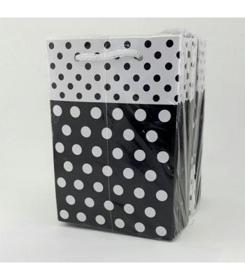 Toptan 12*17 Karton Çanta 25'li Puantiyeli Siyah