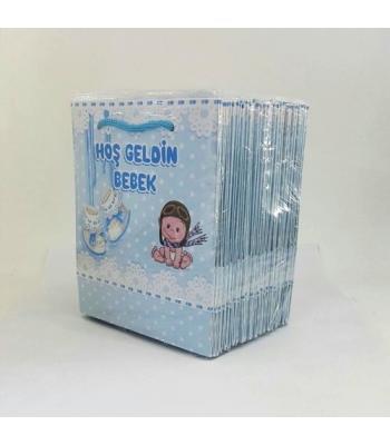 Toptan 14*17 Karton Çanta 25'li Mavi Bebekli