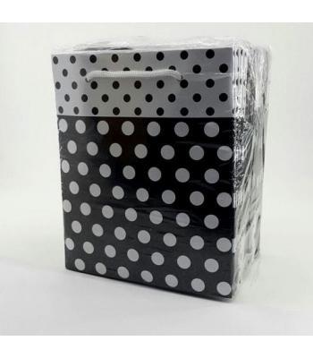 Toptan 14*17 Karton Çanta Puantiyeli Siyah 25'Lİ Çanta
