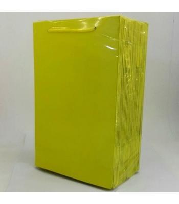 Toptan 17*25 Karton Çanta 25'li Düz Sarı