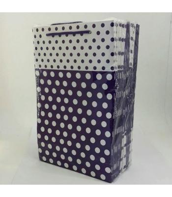 Toptan 17*25 Karton Çanta 25'li Mor Puantiye
