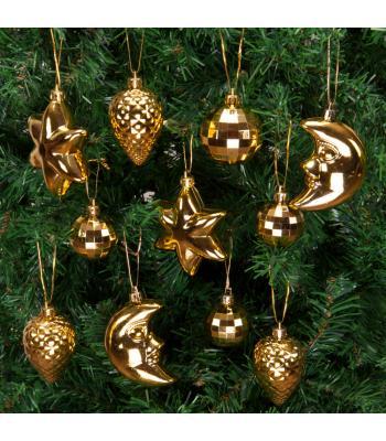 Yılbaşı Ağacı Süsü Gece Temalı Altın Lüks Seti