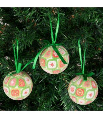 Yılbaşı Ağacı Süsü Desenli Yeşil Cici Toplar 6 cm