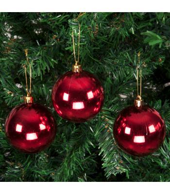 Yılbaşı Ağacı Süsü Parlak Kırmızı Cici Toplar 7 cm 6 lı Paket