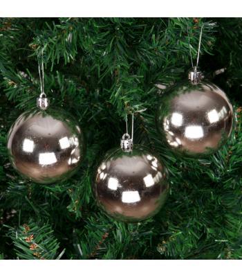 Yılbaşı Ağacı Süsü Parlak Gümüş Cici Toplar 8 cm 6 lı Paket