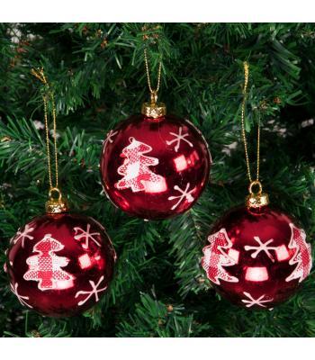 Yılbaşı Ağacı Süsü Çam Ağacı Desenli Kırmızı Lüks Cici Toplar
