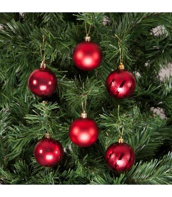 Yılbaşı Ağacı Süsü Lüks Kırmızı Süsleme Seti 6 cm