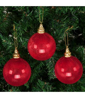 Yılbaşı Ağacı Süsü Kırmızı Kumaş Kaplamalı Lüks Cici Toplar