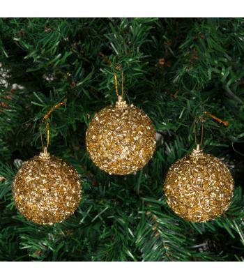 Yılbaşı Ağacı Süsü Simli Boncuklu Altın Lüks Cici Toplar