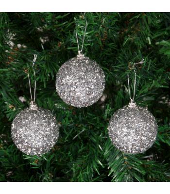 Yılbaşı Ağacı Süsü Simli Boncuklu Gümüş Lüks Cici Toplar