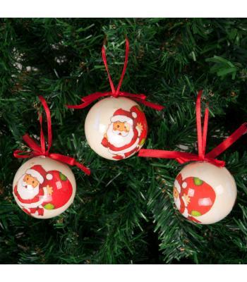 Yılbaşı Ağacı Süsü Noel Baba Desenli Lüks Cici Toplar 6 cm