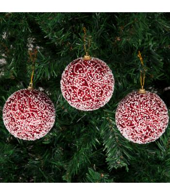 Yılbaşı Ağacı Süsü İp Desenli Kırmızı Lüks Pullu Cici Toplar 8 cm