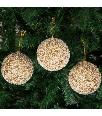 Yılbaşı Ağacı Süsü İp Desenli Altın Lüks Pullu Cici Toplar 8 cm
