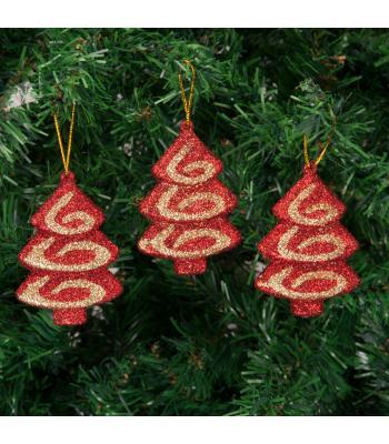 Yılbaşı Ağacı Süsü Çam Ağacı Şekilli Kırmızı Lüks Set